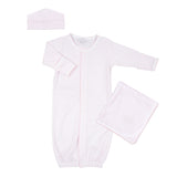 Magnolia Baby Pink Mini Stripes Converter Gown Layette Set
