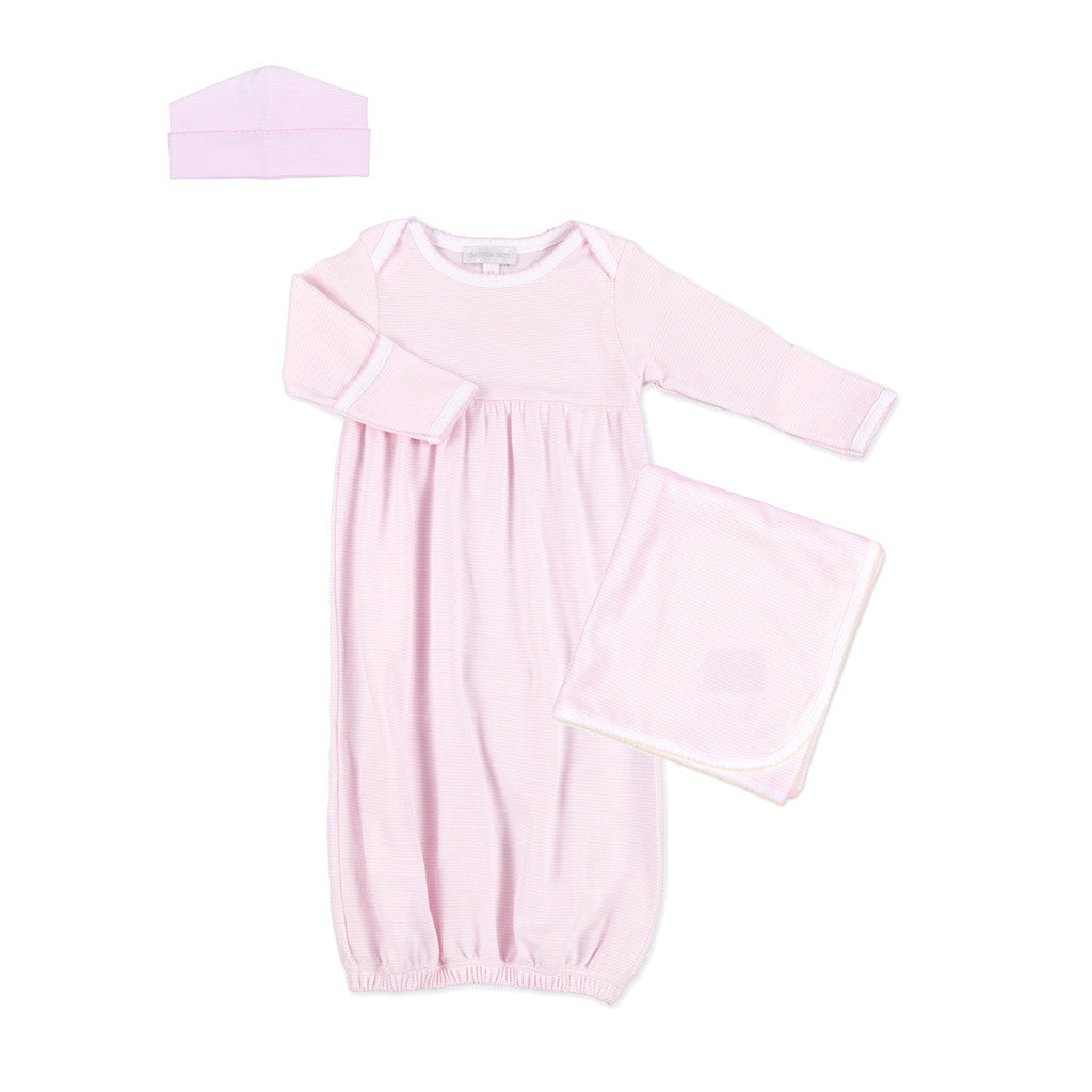 Magnolia Baby Pink Mini Stripe Gathered Gown Layette Set