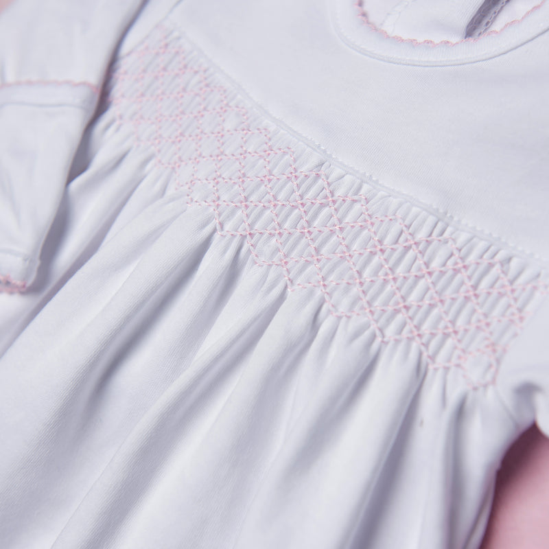 Magnolia Baby Essentials White with Pink Trim Smocked Gown - Monogram Available