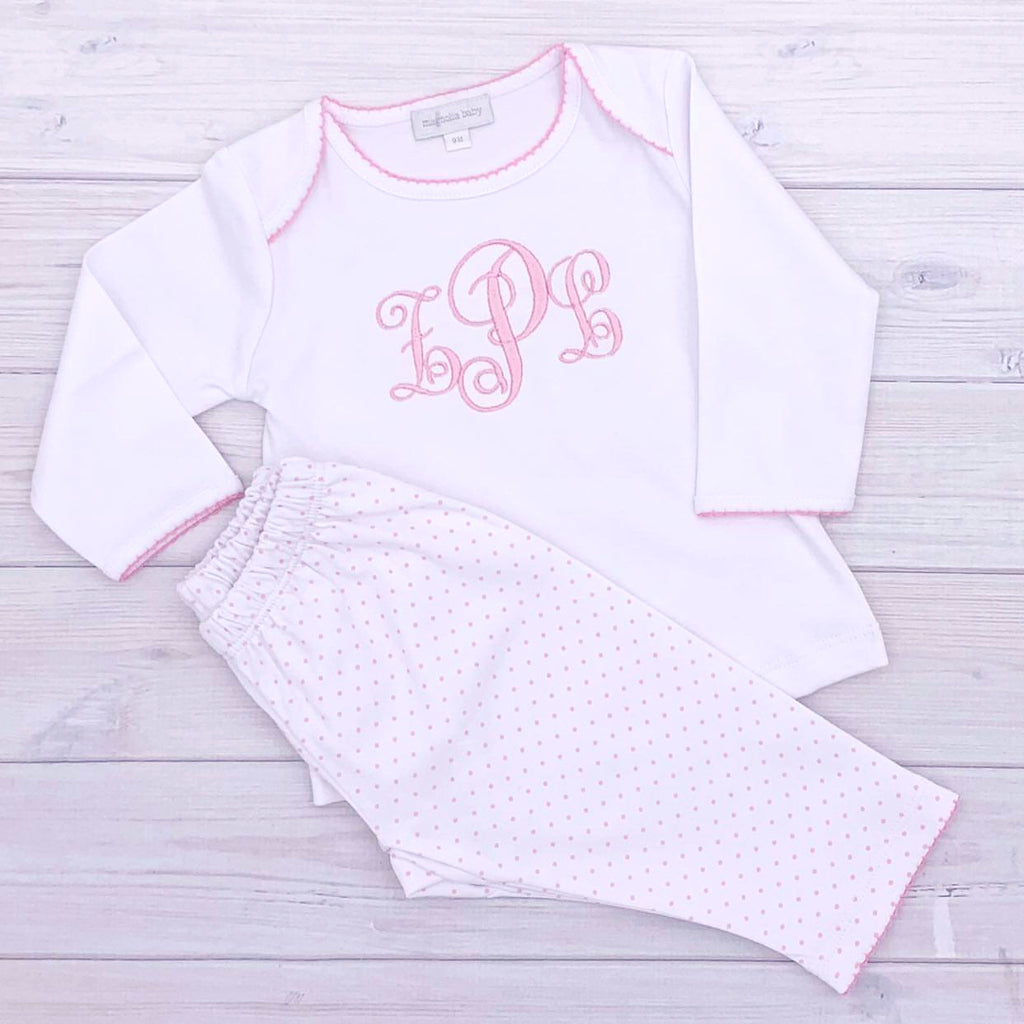 Magnolia Baby Essentials Pink Mini Dots Two Piece Pant Set - Personalization Available