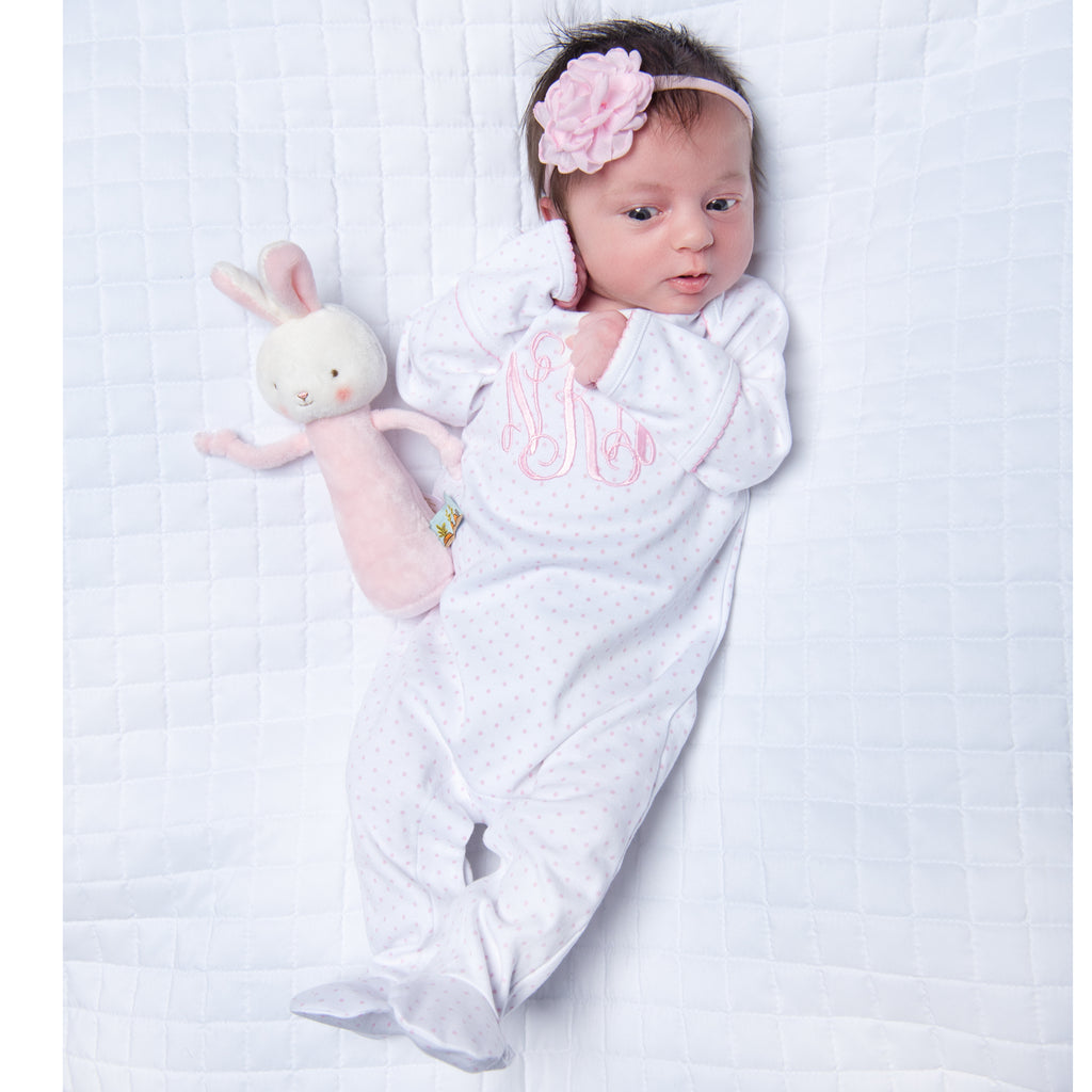 Magnolia Baby Essentials Pink Mini Dots Lap Shoulder Footie - Personalization Available
