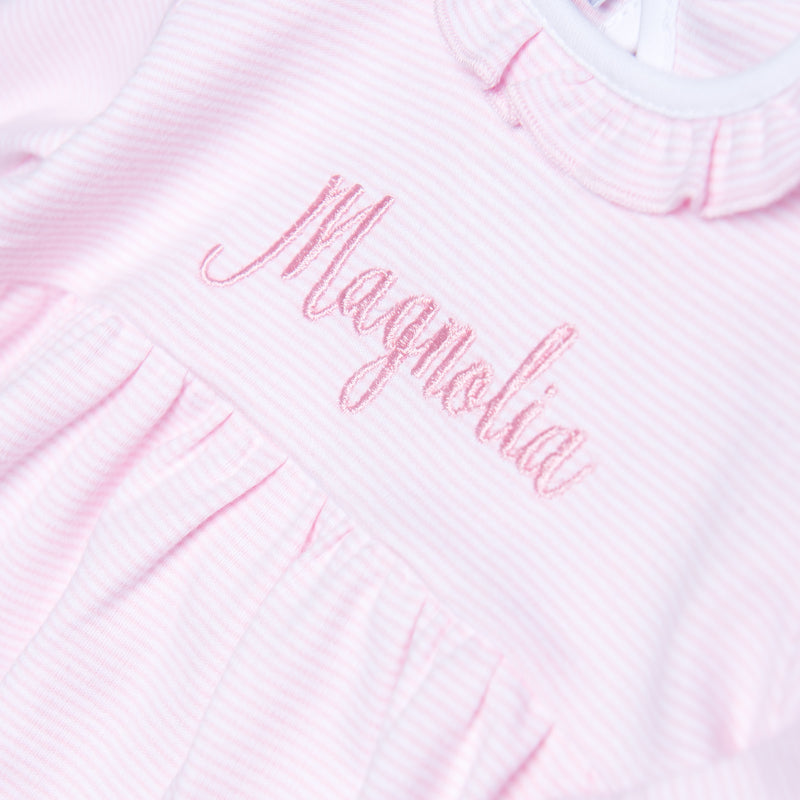 Magnolia Baby Essentials Pink Mini Stripe Ruffled Gathered Gown - Personalization Available