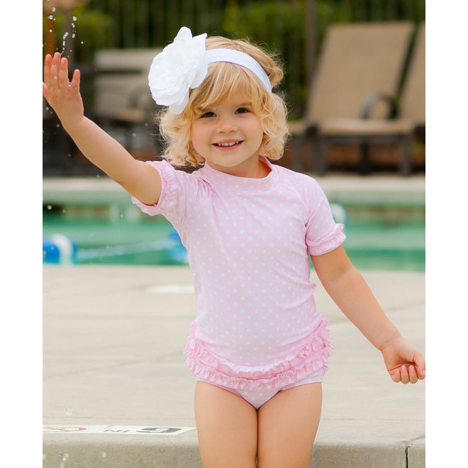 Pink Polka Dot Two Piece Rashguard  Set - Personalization Available