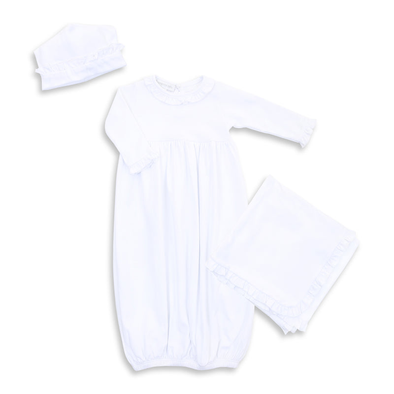 Magnolia Baby White Ruffle Gown Layette Set