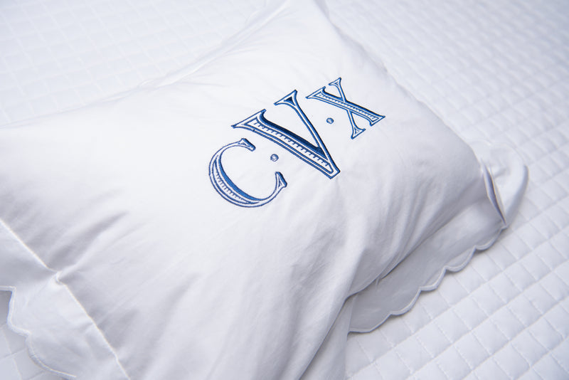 White Scalloped Pillow Sham - Personalization Available