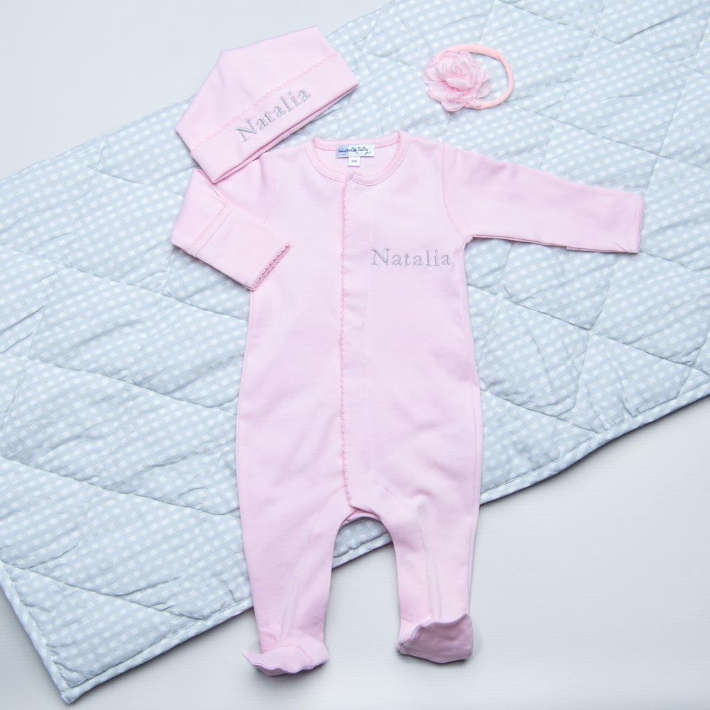Magnolia Baby Pink Footie + Hat Set - Personalization Available