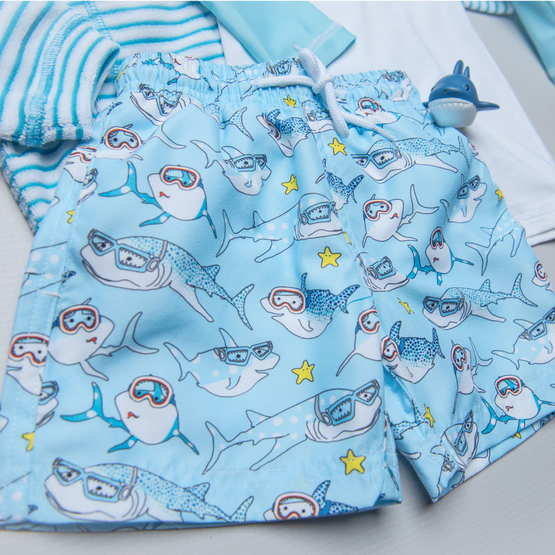 Stella Cove Sharks with Goggles Swim Trunks
