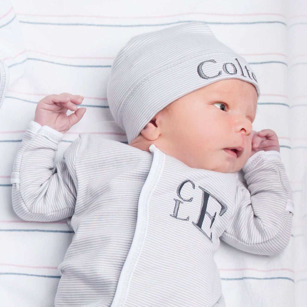 Magnolia Baby Essentials Unisex Grey Mini Stripe Footie - Personalization Available