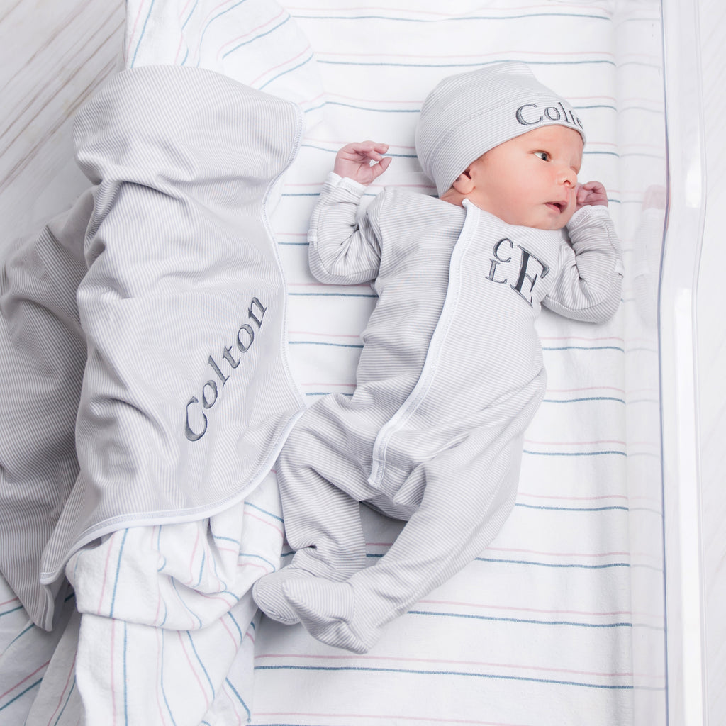 Magnolia Baby Grey Mini Stripe Footie + Hat + Blanket - Personalization Available