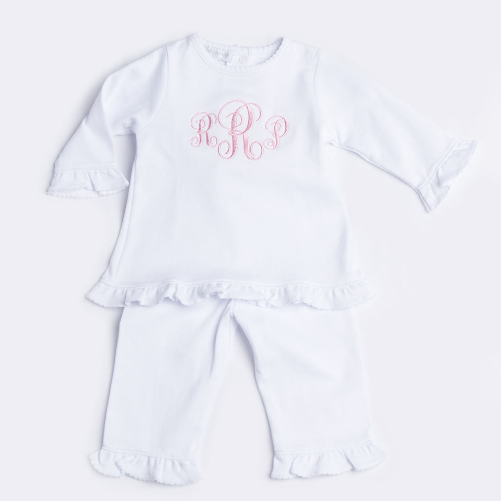 Magnolia Baby Essentials White Ruffled Pants Set - Personalization Available