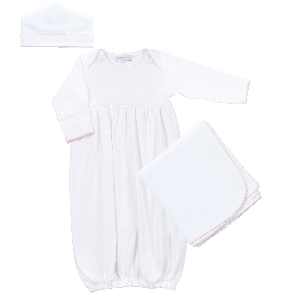 Magnolia Baby White with Pink Trim Gown Set