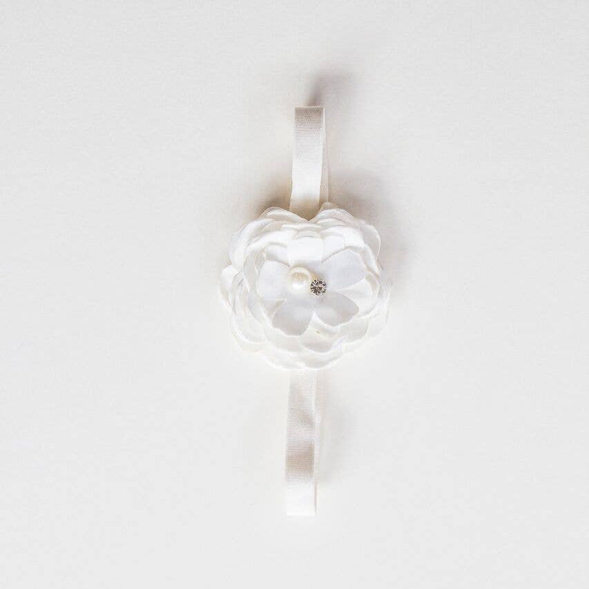 Baby Rose Headband - White