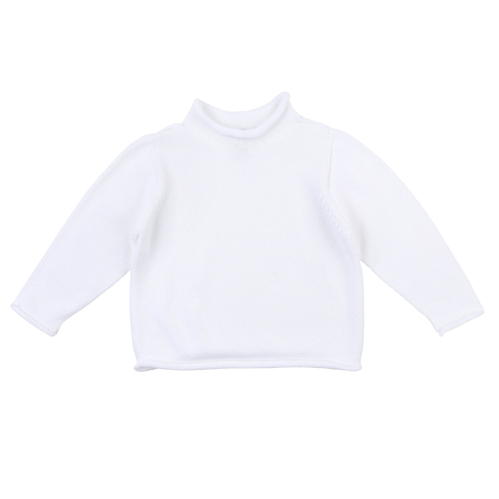 White Rollneck Sweater - Personalization Available