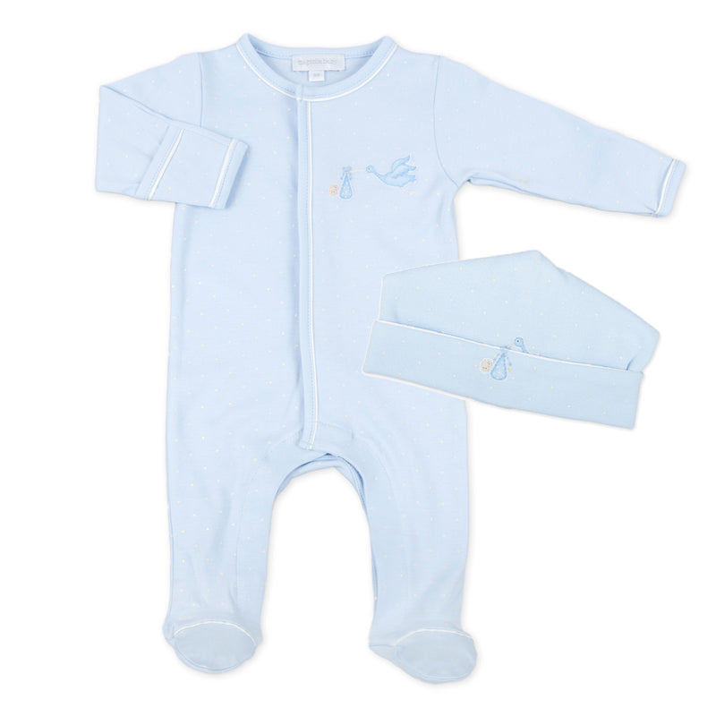Magnolia Baby Blue Embroidered Worth The Wait Footie + Hat Set