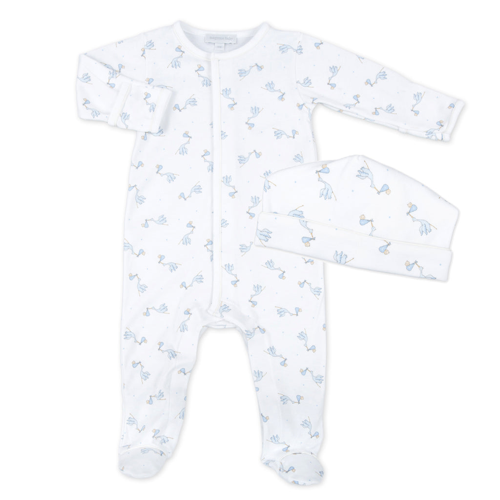Magnolia Baby Blue Print Worth The Wait Footie + Hat Set - Personalization Available
