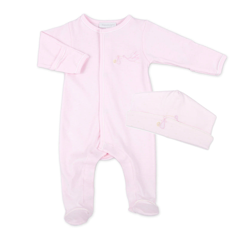 Magnolia Baby Pink Embroidered Worth The Wait Footie + Hat Set
