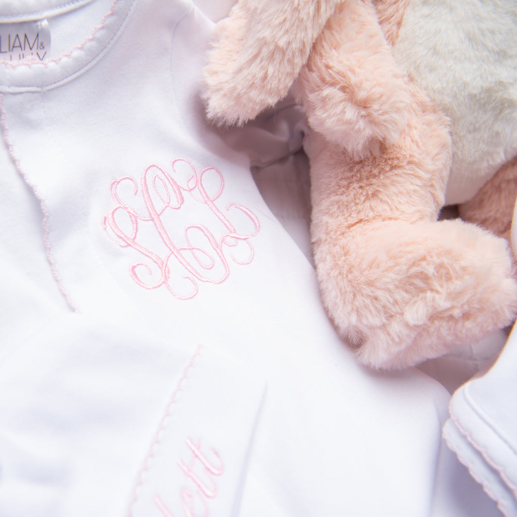 Liam & Lilly Bespoke White with Pink Trim Footie - Personalization Available