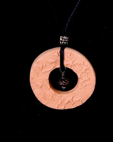 "1 1/2"" Hollow Round Aromatherapy Terracotta Essential Oil Necklace - MtBakerTradingCompany.com"