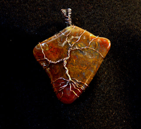 Moss Agate and Antiqued Copper Tree of Life - MtBakerTradingCompany.com
