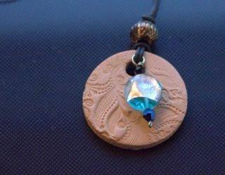 Flower Quilt Round Aromatherapy Necklace with Beads  (Sold) - MtBakerTradingCompany.com