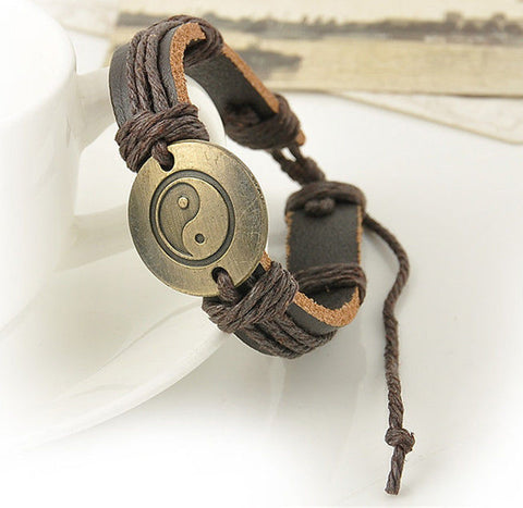 Vintage Looking Yin and Yang Leather Infinity Bracelet... Retro - MtBakerTradingCompany.com