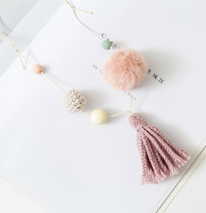 Fur Pom Pom & Tassel Necklace NYA-2015