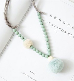 Fur Pom Pom Necklace NY-ACN04