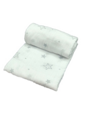 Mini Swaddle - stars grey