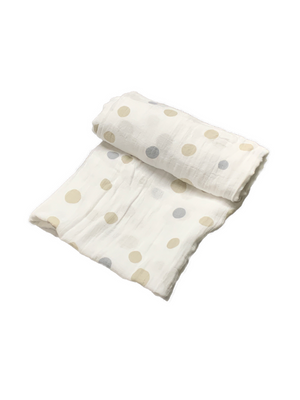 Mini Swaddle - dots beige & grey