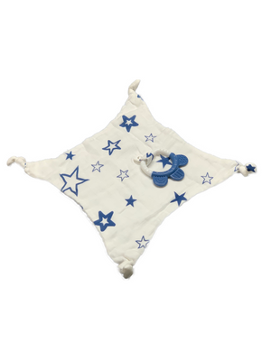 Square Teether - stars blue