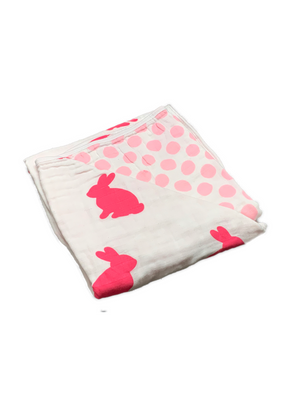 Blanket - rabbit & dots pink