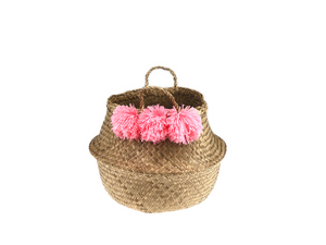 Belly Basket - nature & coral pom pom