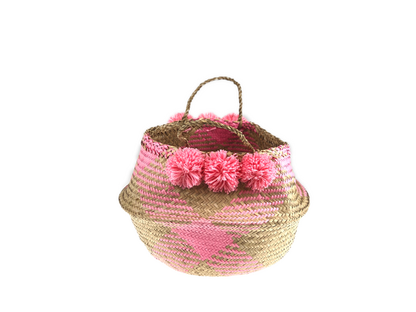 Belly Basket - coral check & pom pom