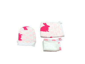 Washcloth Set of 3 - rabbit & dots pink