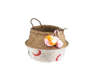 Belly Basket - colorful button pom pom & tassel