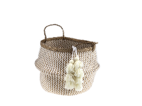 Belly Basket - white zick zack & tassel
