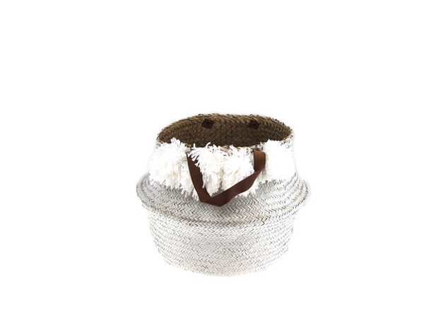 Belly Basket - white pom pom