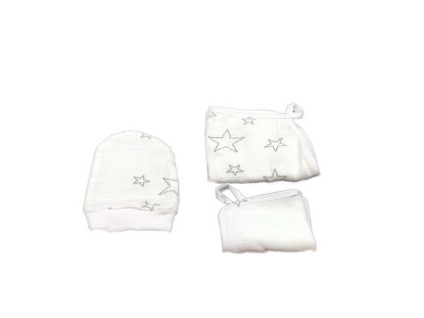 Washcloth Set of 3 - stars grey