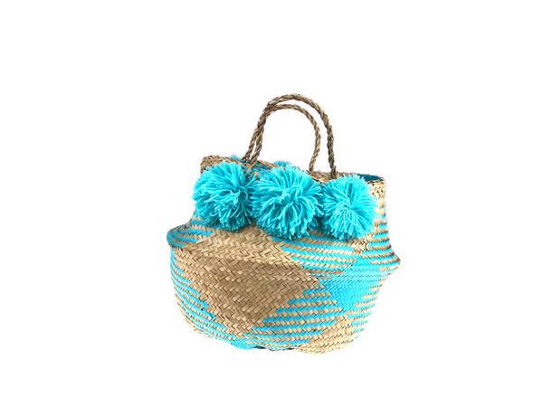 Belly Basket - aqua check & pom pom