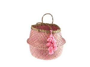 Belly Basket - coral zick zack