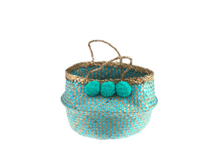 Belly Basket - aqua zick zack & pom pom