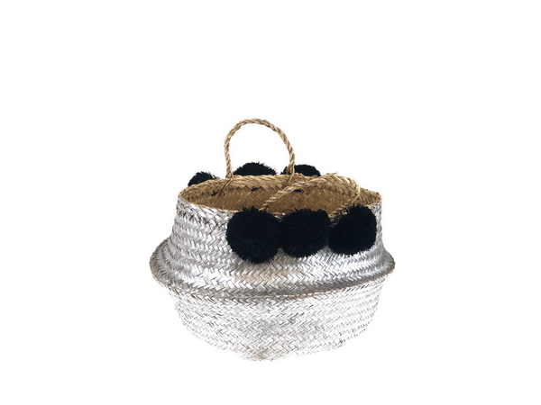 Belly Basket - silver & black pom pom