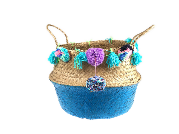 Belly Basket - aqua button colorful pom pom & tassel