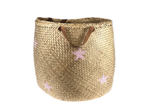 Storage Basket - stars light pink