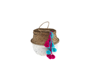 Belly Basket - white button pom pom & tassel
