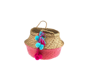 Belly Basket - pink button pom pom & tassel
