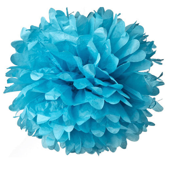 Light Blue Tissue Pom Poms