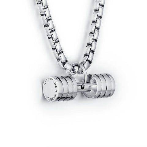 Men's Personalized Stainless Steel Dumbbell Pendant