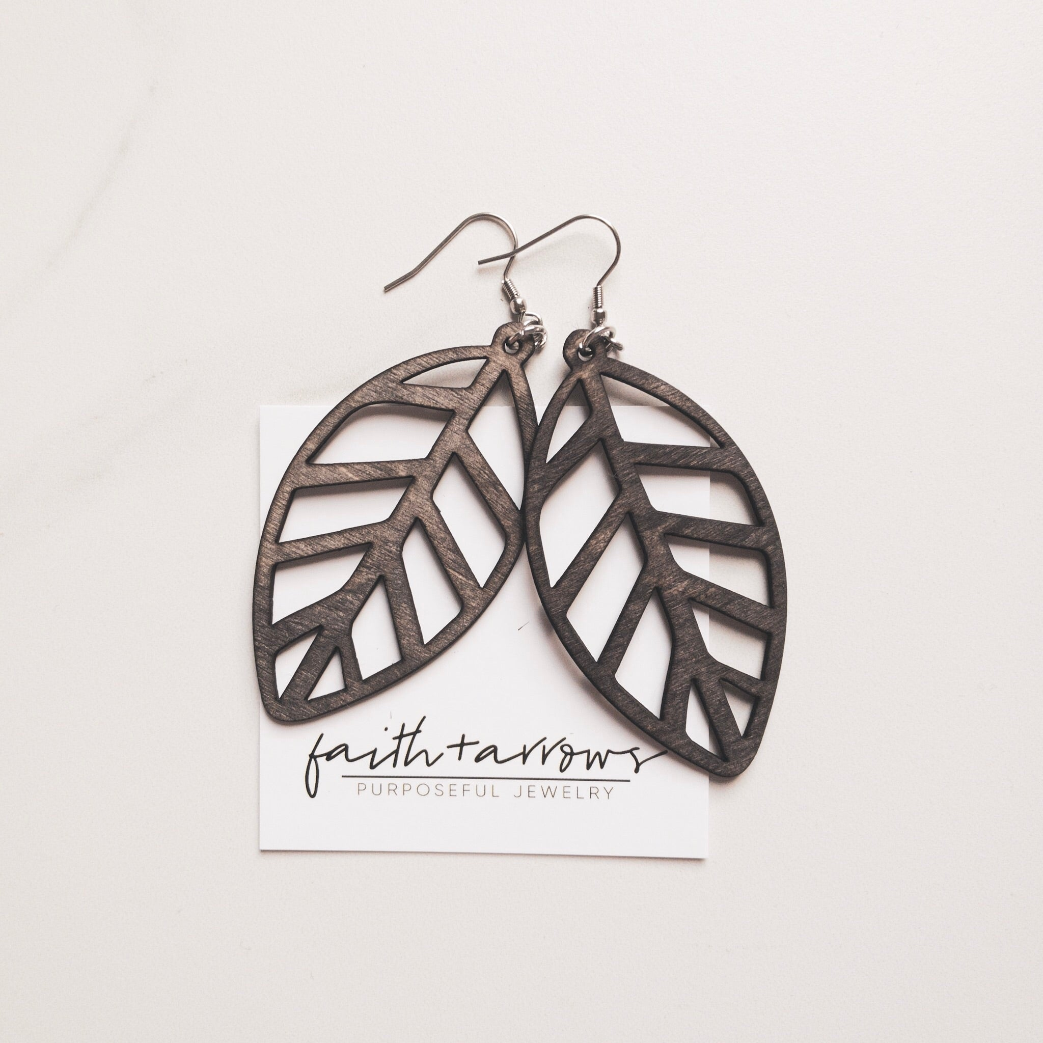 Laser cut wooden leaf earrings