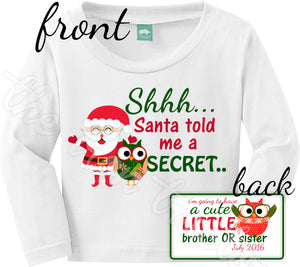 Front And Back Christmas Pregnancy Announcement Shirt Or Onesie